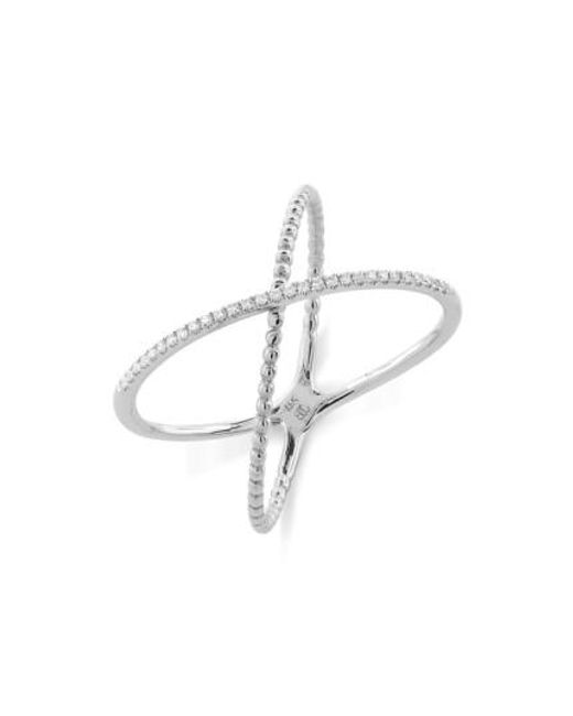 Bony Levy | Metallic Stackable Crossover Beaded Diamond Ring (nordstrom Exclusive) | Lyst