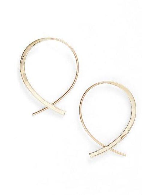Lana Jewelry | Metallic Small Frontal Upside Down Hoop Earrings | Lyst