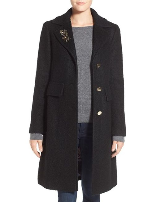 Eliza J | Black Embellished Boucle Reefer Coat | Lyst