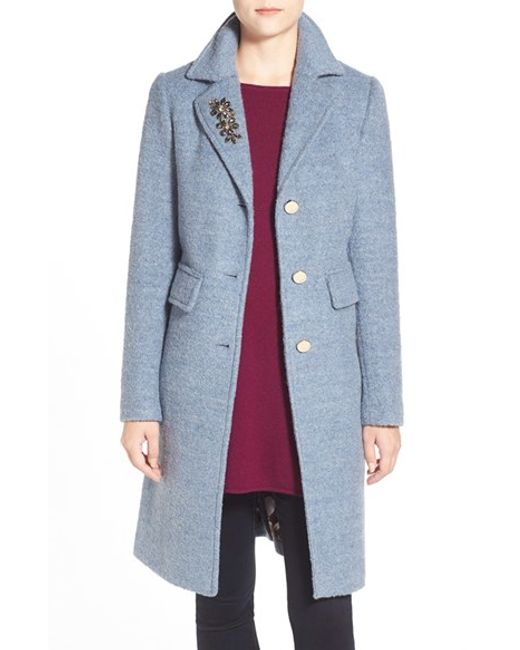 Eliza J | Blue Embellished Boucle Reefer Coat | Lyst