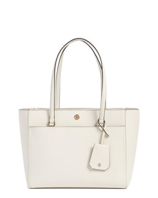 Tory Burch - Pink Small Robinson Leather Tote - Lyst
