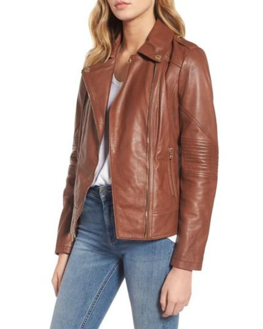 Guess | Brown Leather Moto Jacket | Lyst