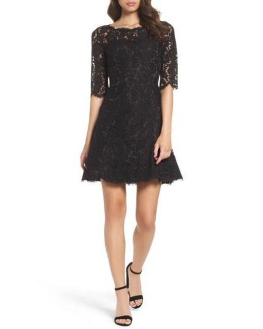 Eliza J | Black Floral-Lace Tulip Dress | Lyst