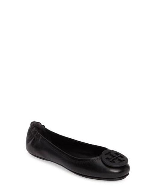 Tory Burch - Black 'minnie' Travel Ballet Flat - Lyst