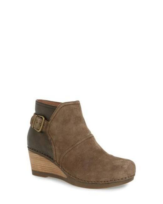 Dansko - Brown 'Shirley' Wedge Bootie - Lyst