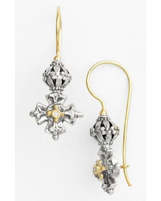 Konstantino | Metallic 'classics' Diamond Maltese Cross Drop Earrings | Lyst