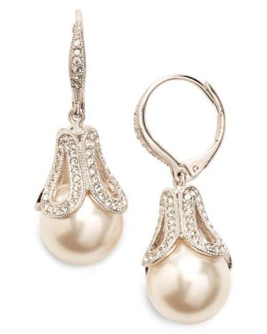 Nadri White Imitation Pearl Drop Earrings Lyst