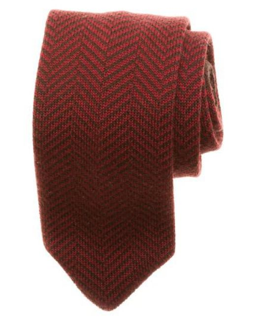 Hook + Albert - Red Herringbone Knit Wool Tie for Men - Lyst