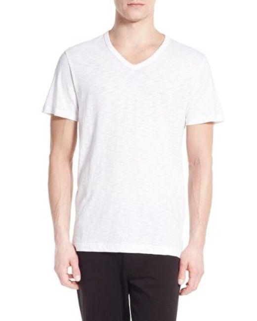 Vince - White Slub V-neck T-shirt for Men - Lyst