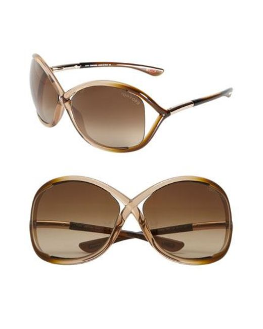 Tom Ford | Brown 'whitney' 64mm Open Side Sunglasses | Lyst