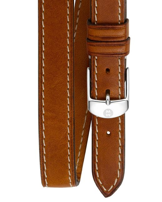 Michele - Brown 18mm Leather Double Wrap Watch Strap - Lyst
