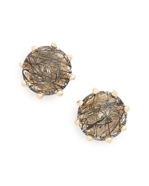 Anna Sheffield   Metallic 'eleanor' Black Rutilated Quartz Stud Earrings   Lyst