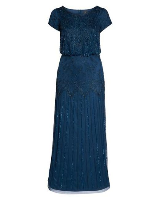Adrianna Papell - Blue Beaded Blouson Gown - Lyst