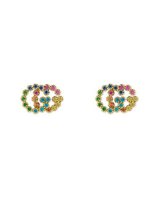 9b4a80addec Gucci - Metallic Double-g Multistone Stud Earrings - Lyst ...