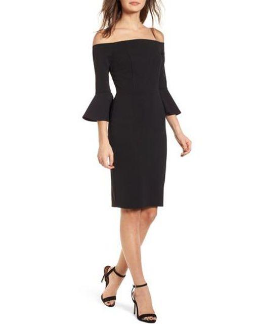 Soprano - Black Flare Sleeve Off The Shoulder Dress - Lyst