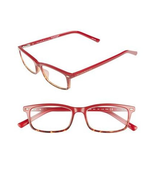 Kate Spade | Red Jodie 50mm Rectangular Reading Glasses | Lyst