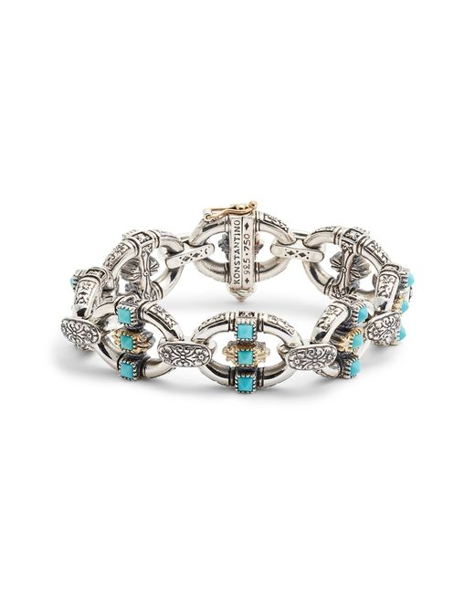 Konstantino - Metallic Trillion Chain Link Stone Bracelet - Lyst