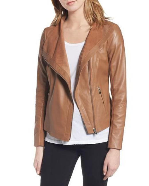 Trouvé   Brown Raw Edge Leather Jacket   Lyst