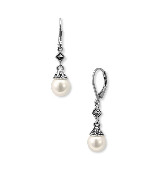 Judith Jack - Metallic Imitation Pearl Drop Earrings - Lyst