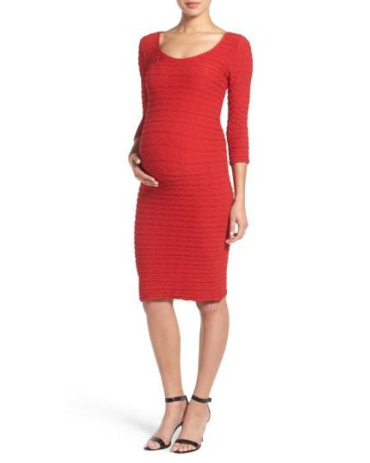 Tees by Tina | Red Crinkle Maternity Sheath Dress | Lyst