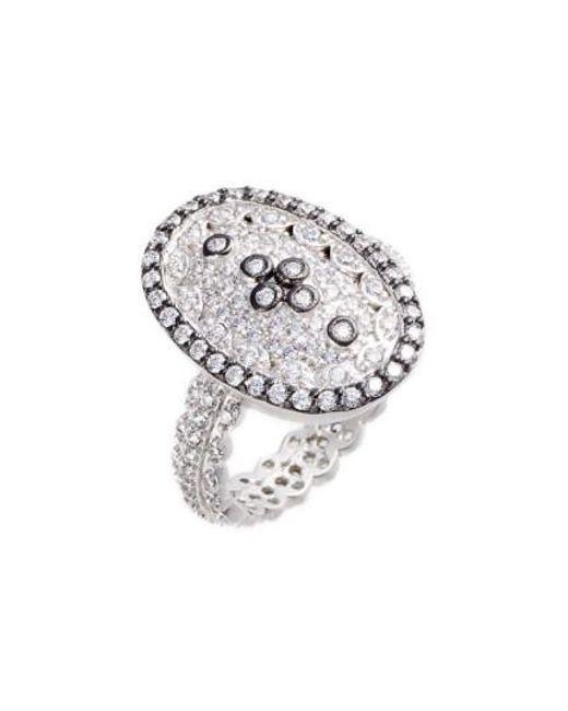 Freida Rothman   Metallic Pave Cubic Zirconia Clover Ring   Lyst