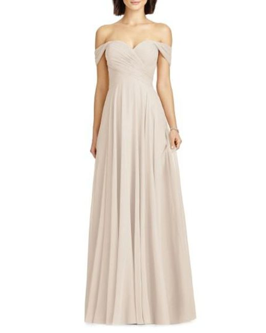 Lyst - Dessy Collection Full Length Off Shoulder Lux Chiffon Dress ...