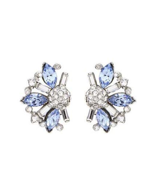 Ben-Amun - Silver & Blue Crystal Earrings - Lyst