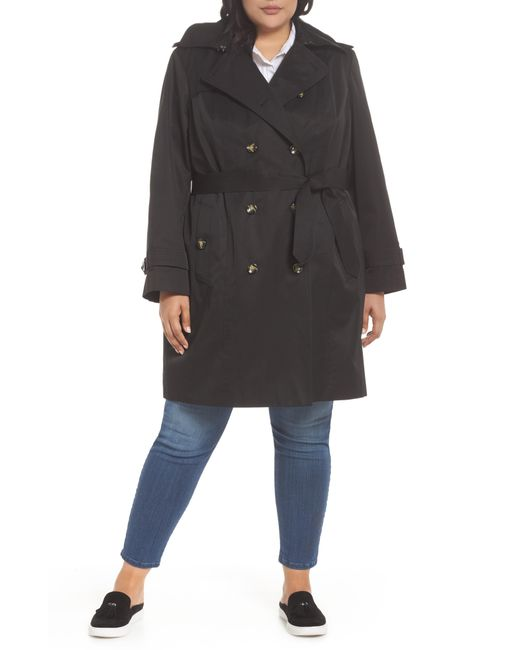 London Fog - Natural Hooded Double Breasted Trench Coat - Lyst