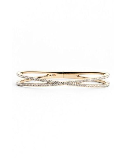 Nadri - Metallic Pave Hinged Crossover Bracelet (nordstrom Exclusive) - Lyst