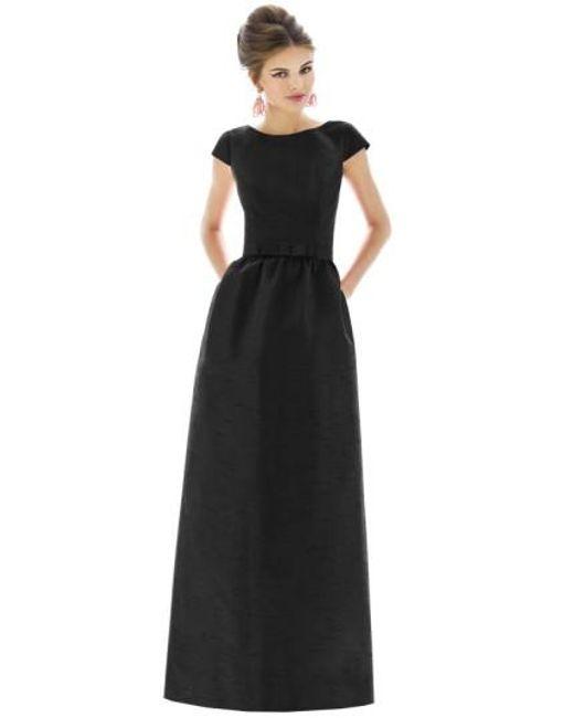 Alfred Sung | Black Cap-Sleeve Dupioni Full-Length Dress | Lyst