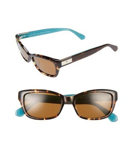 Kate Spade | Brown Marilee 53mm Polarized Sunglasses - Havana/ Turquoise | Lyst