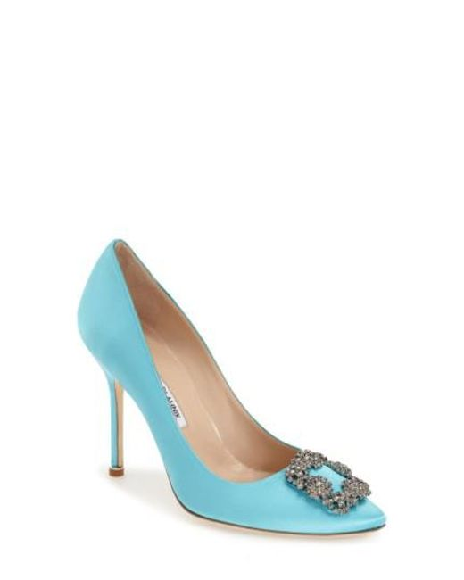 Manolo Blahnik | Blue 'hangisi' Jewel Pump | Lyst