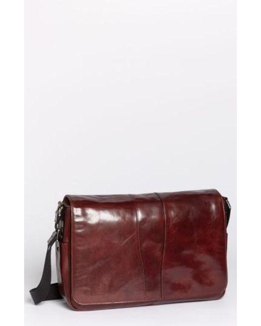 Bosca - Brown Leather Messenger Bag for Men - Lyst