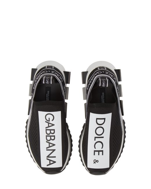 Dolce & Gabbana - Black Stretch Jersey Sorrento Sneakers With Logo - Lyst