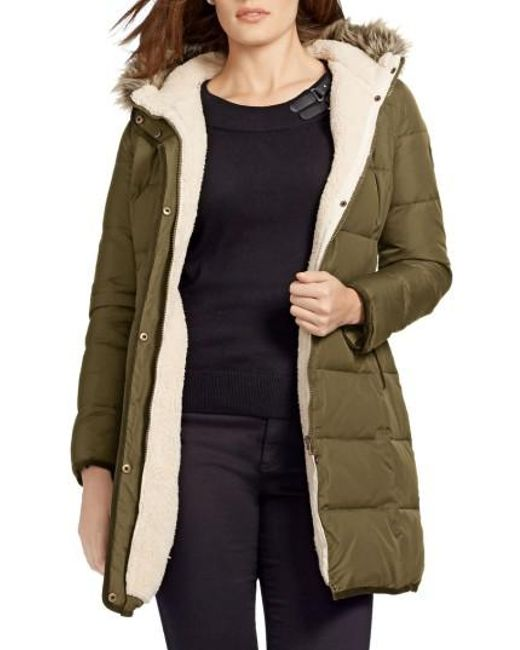 Lauren by Ralph Lauren | Multicolor Quilted Parka With Faux Fur Trim | Lyst