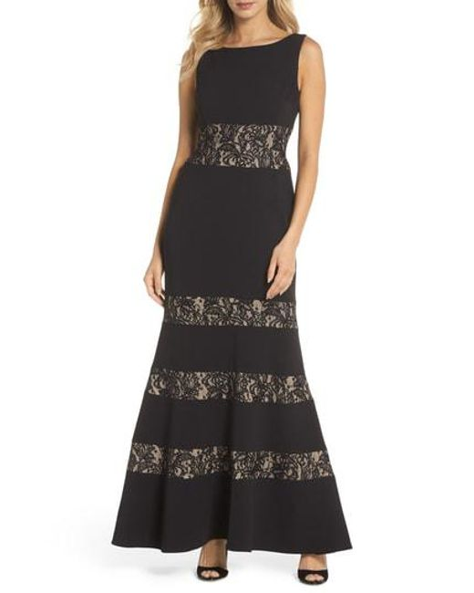 Lyst - Vince Camuto Lace Panel Trumpet Gown in Black