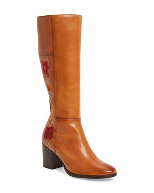 Frye   Brown Nova Floral Embroidered Knee High Boot   Lyst