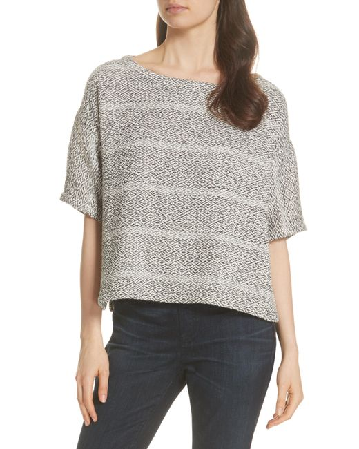 Eileen Fisher - Gray Textured Stripe Boxy Cotton Top - Lyst