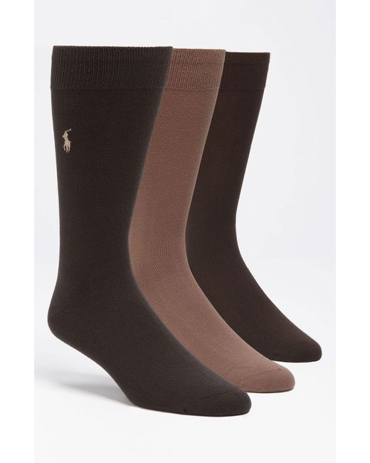 Polo Ralph Lauren - Assorted 3-pack Supersoft Socks, Brown for Men - Lyst