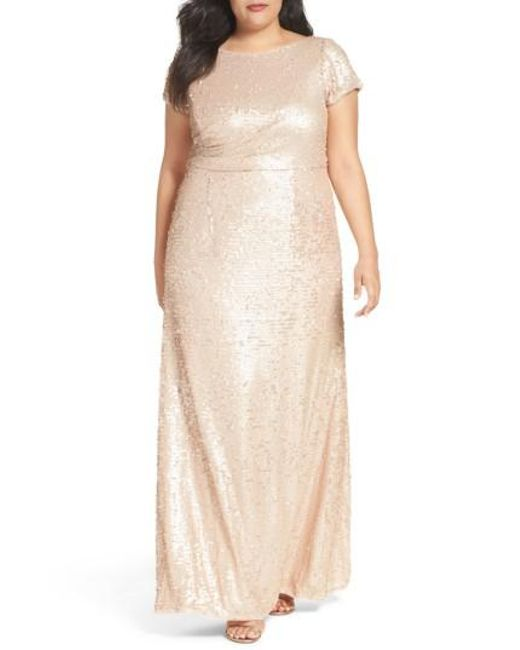 Adrianna Papell   Natural Sequin A-line Gown   Lyst