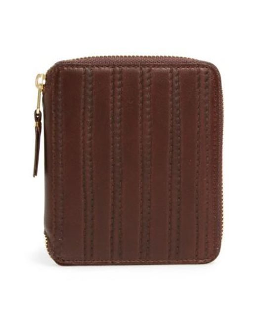 Comme des Garçons | Brown 'embossed Stitch' French Wallet for Men | Lyst