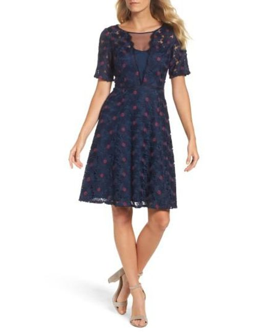 Adrianna Papell | Blue Lace Fit & Flare Dress | Lyst