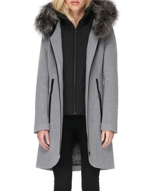 Soia Amp Kyo Hooded Wool Blend Coat With Detachable Genuine