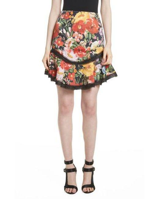 Alice + Olivia - Multicolor Floral Skirt - Lyst
