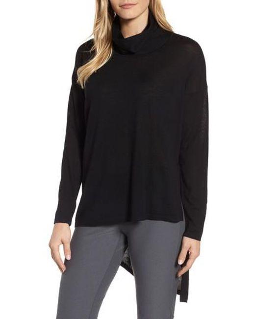 Eileen Fisher | Black Asymmetrical Merino Wool Sweater | Lyst