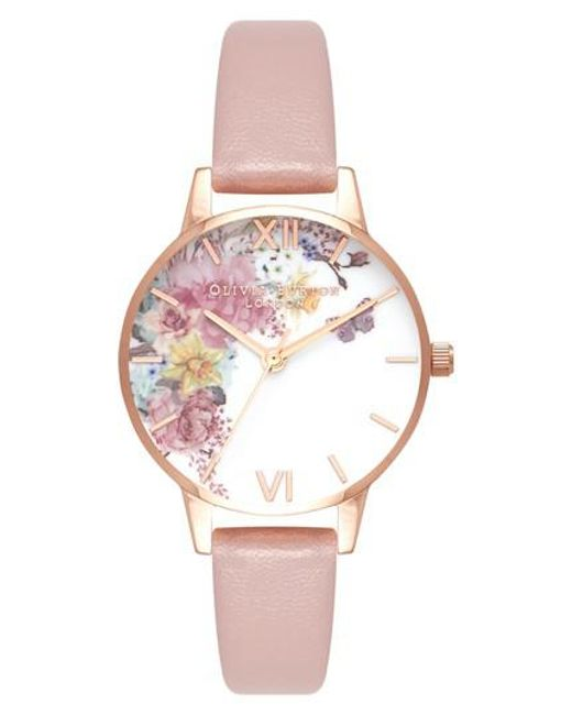 Olivia Burton - Pink Enchanted Garden Faux Leather Strap Watch - Lyst