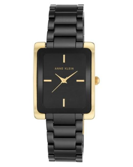 Anne Klein - Black Rectangle Ceramic Bracelet Watch - Lyst