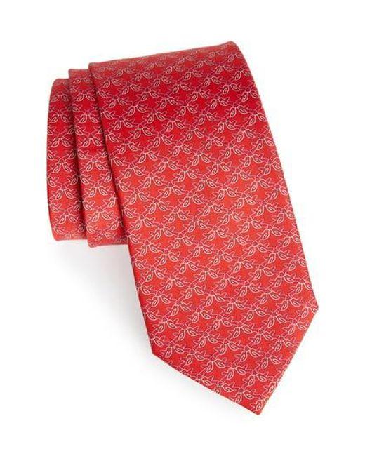 Ferragamo - Red Bird Print Silk Tie for Men - Lyst