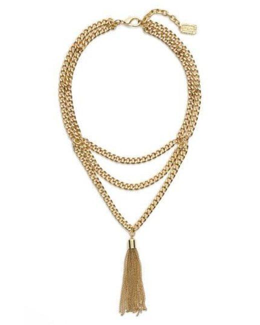 Karine Sultan - Metallic Layered Y-necklace - Lyst