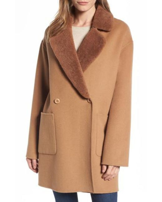 Trina Turk | Natural Dawn Genuine Shearling Collar Double Face Coat | Lyst